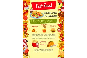 Vector poster for fast food restaurant template