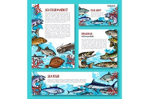 Vector template for fresh fish seafood market