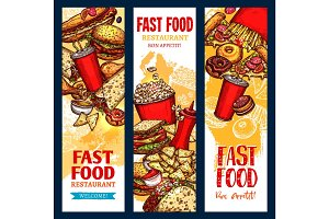 Vector fast food banners for fast food restaurant