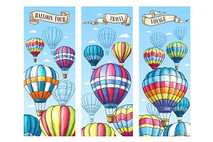 Vector banners for hot air balloon travel tour