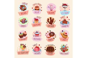 Vector icons bakery cakes confectionery desserts