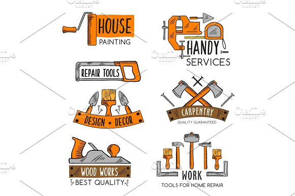 Vector Icons Template Of Home Repair Handy Service