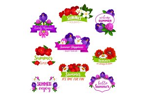 Vector icons of summer flowers blooming bouquets