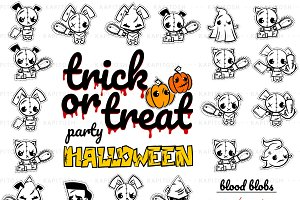 20 Halloween evil cute character SET