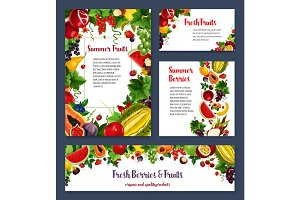 Vector templates for exotic garden fruits berries
