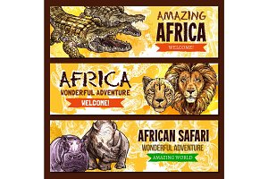 African animals vector poster for safari adventure