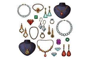 Vector icons of jewelry bijou fashion accessories