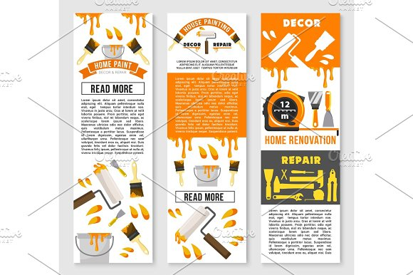 Vector Banners Of Home Repair Renovation Service
