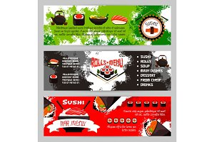 Japanese restaurant sushi menu vector banners set
