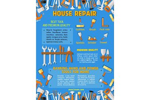Vector poster template of house repair work tools