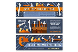 Vector banners for home or house repair work tools