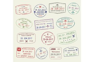 Vector icons of city passport stamps world travel