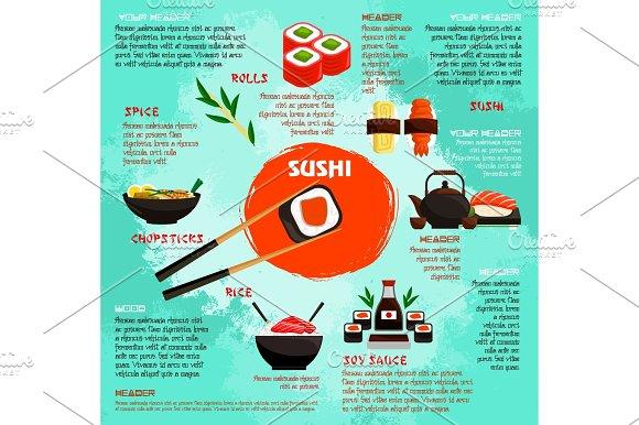 Japanese Restaurant Sushi Menu Vector Poster