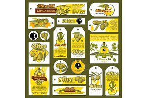 Vector tags, banners for olive oil organic product