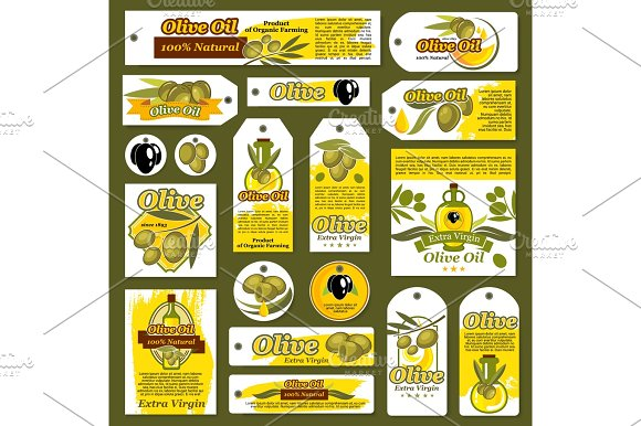 Vector Tags Banners For Olive Oil Organic Product