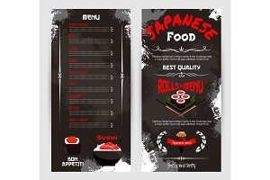 Vector price menu for Japanese sushi restaurant