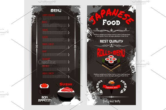 Vector Price Menu For Japanese Sushi Restaurant