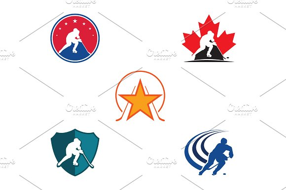 5 Ice Hockey Logo Symbol Template