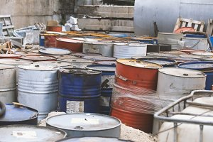 Barrels with spent oil products - ecology concept