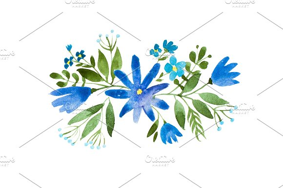 Little Bouquet Of Blue Wild Flowers Aquarelle Floral Illustration