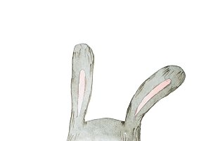 Watercolor rabbit or hare hand drawn with aquarelle technique