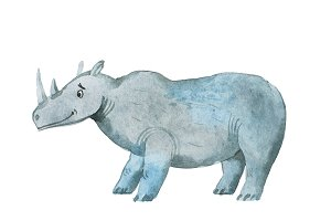 Hippopotamus hand drawn with watercolors Aquarelle illustration