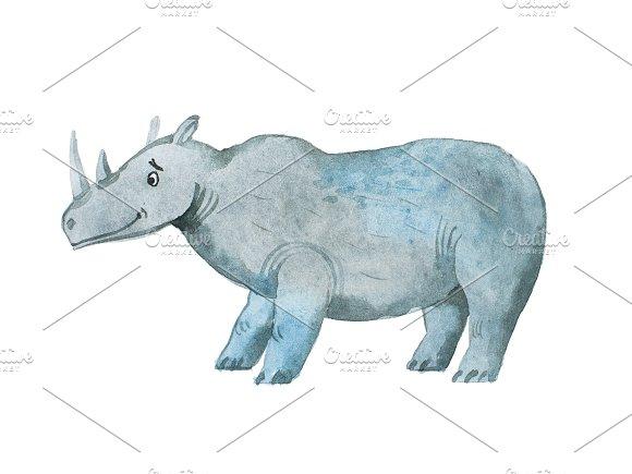Hippopotamus Hand Drawn With Watercolors Aquarelle Illustration