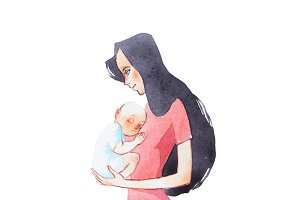 Young mother holding her sleeping newborn baby hand drawn with watercolor