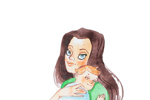 Aquarelle illustration of beautiful young mother holding her baby son hugging and lulling to sleep