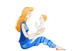 Profile view of smiling young mother sitting on floor with a son on lap hand-drawn with watercolor