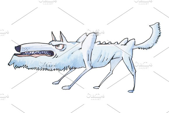 Watercolor Illustration Of Skinny Grey Angry Wolf Grinning And Growling Before Attack