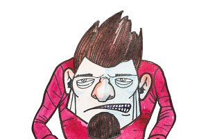 Cartoon male villain character with angry irritated face growling drawn