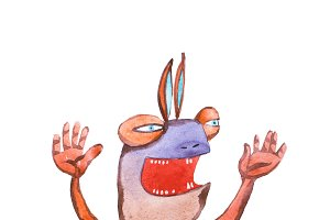 Watercolor illustration of cartoon monster frightening shouting swinging arms