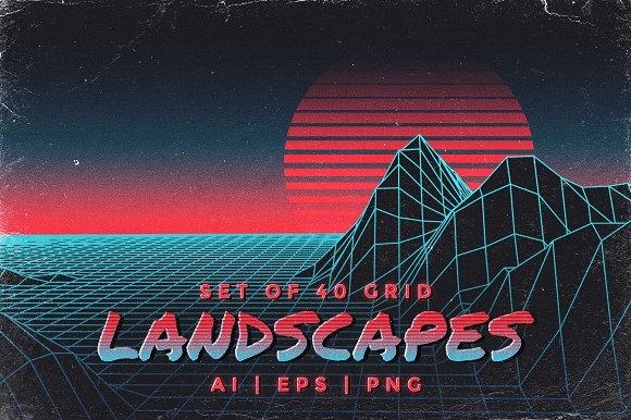 Retro Inspired Grid Landscapes