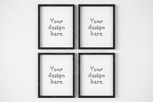 Set of 4 simple black frame mockup