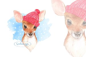 Fawn. Winter card
