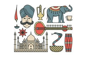 India, Outline Icon Set