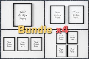 "BUNDLEx4 black frame 8x10"" mockup"