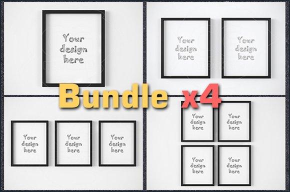 """Download BUNDLEx4 black frame 8x10"""" mockup"""