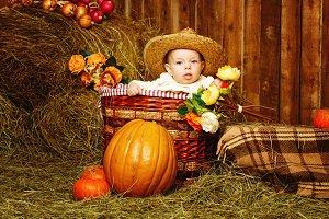 Little girl in straw hat