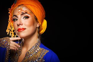 Oriental beauty in a turban