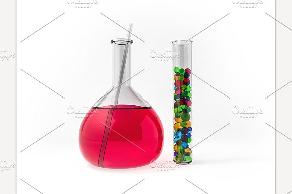 Chemistry Flasks With Liquid