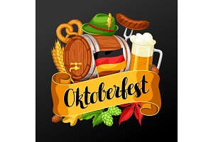 Oktoberfest beer festival. Illustration or poster for feast