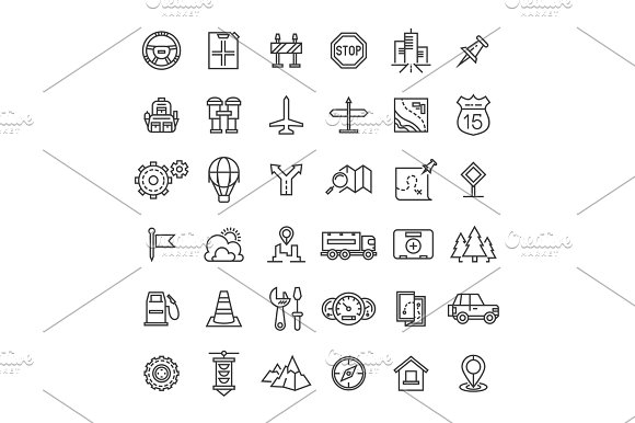 Travel Auto Thin Line Icons Collection