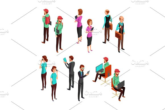 Isometric 3D Business People Isolated Office Man And Woman Professional Teamwork Vector Set