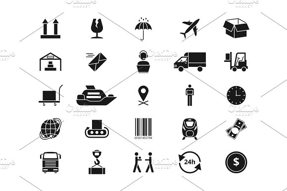 Shipping Delivery And Logistics Vector Icons Retail And Transportation Pictograms