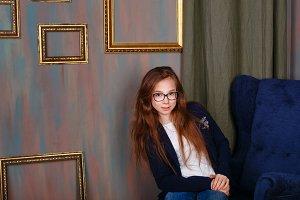 Teen girl in glasses