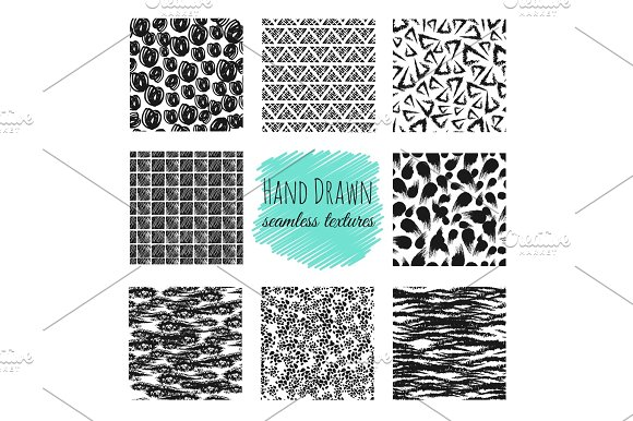 Hand Drawn Textures Scribble Squiggle Ink Pen Seamless Vector Scratchy Endless Backgrounds