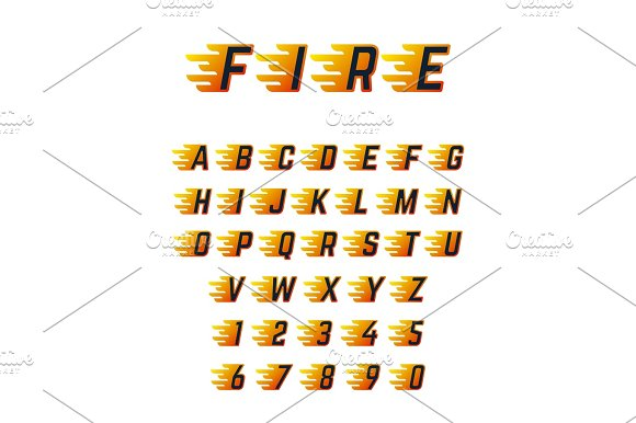 Burning Running Letters With Flame Hot Fire Vector Font Alphabet For Racing Car