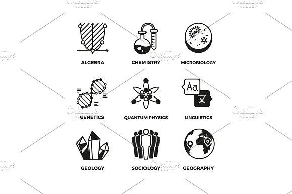 Science Vector Pictograms Genetics Algebra Chemistry Biology Geography Sociology Linguistics Quantum Physics Symbols